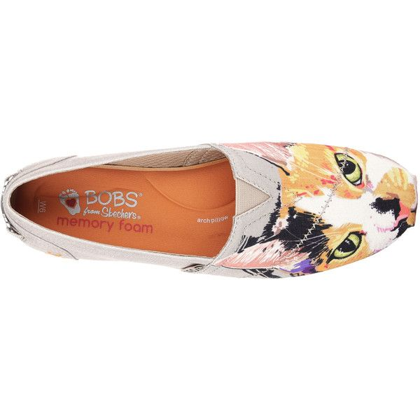 Skechers Women's Bobs Plush - Cat-Tastic Natural - Skechers ($45) ❤ liked on Polyvore featuring shoes, cat shoes, multi color shoes, woven shoes, skechers footwear and woven slip on shoes