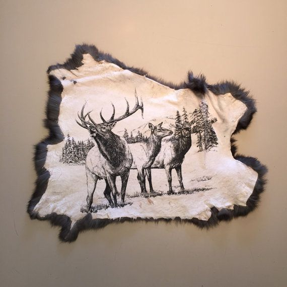 Rabbit pelt with Elk image screen printed one by GoodwinStation