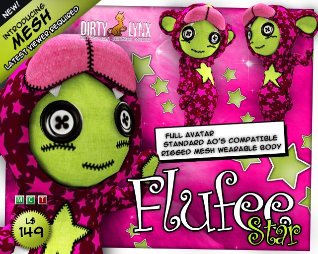 *DL* Flufee Star - full MESH avatar - by Dirty Lynx | An iconic Second Life avatar in design and disposition. Wonderful franchise from a consistent brand (and nice people!). And not just 'cuz I happen to like ye colors.