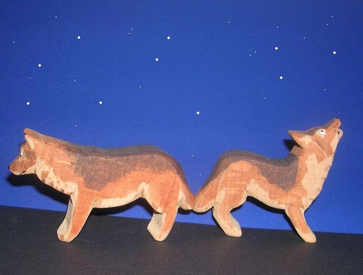 for arthur....Wolves pair / Wooden animals. €18.00, via Etsy.