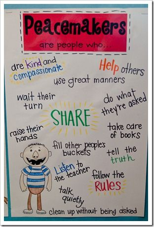 "Classroom rule idea - read a couple David books and create 2 charts: Peacemakers and Peacebreakers -- can even make a ""Peace Corner"" in classroom and post"