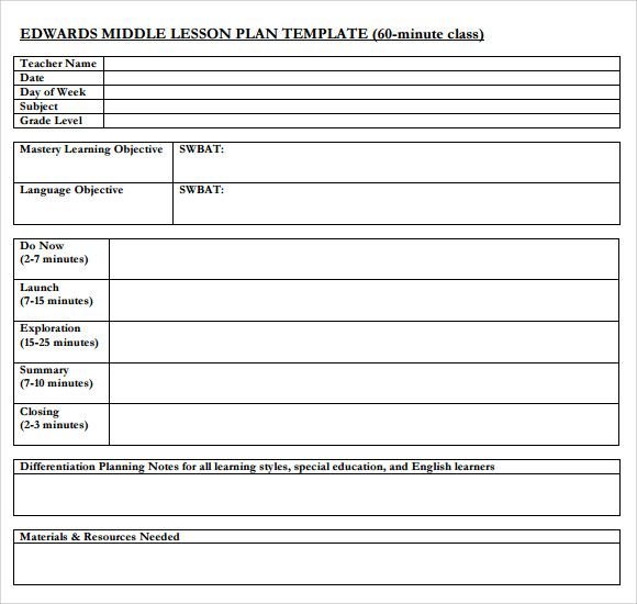 Middle School Lesson Plan Template template Lesson plan