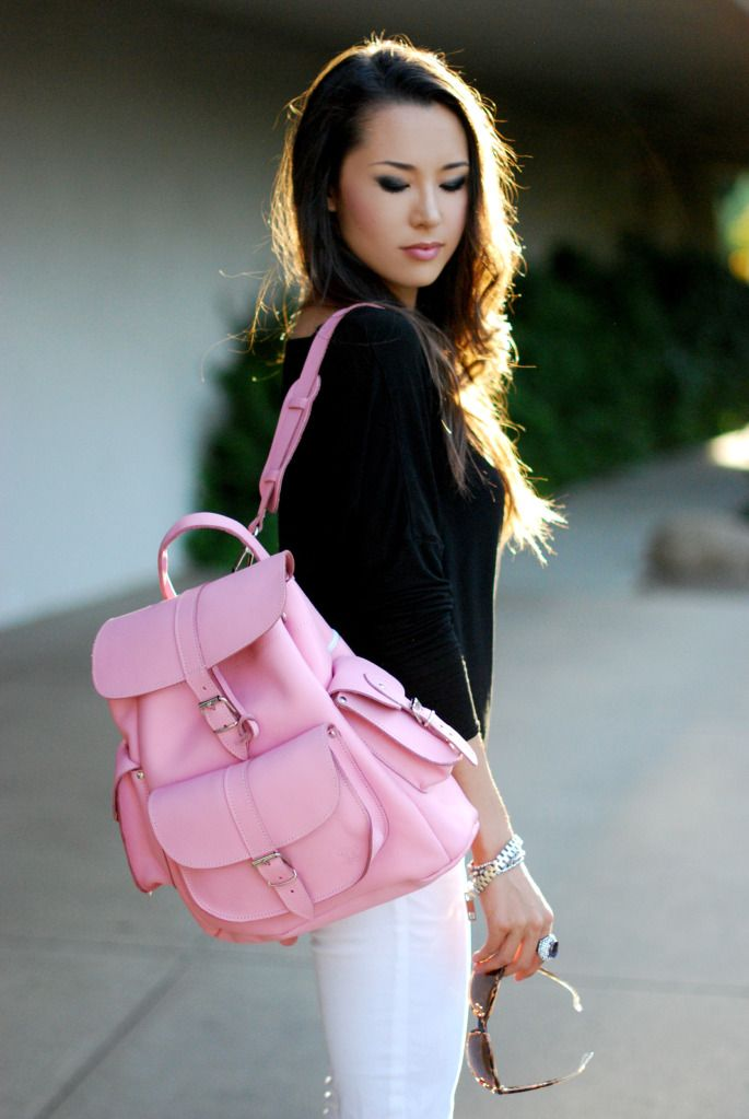Pink Leather rucksack backpack by Grafea | Grafea bags xox ...