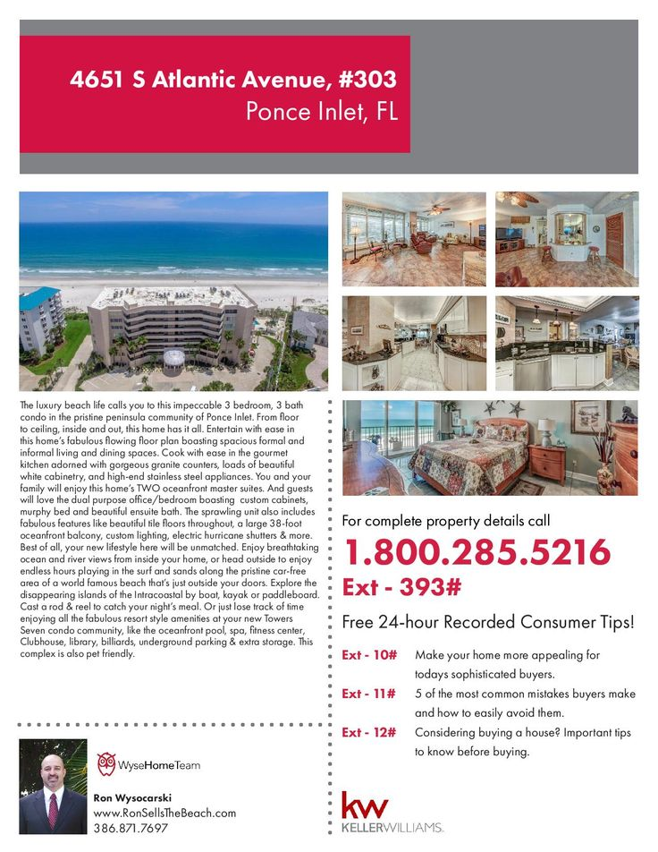 4651 S Atlantic Ave, Unit 303, Ponce Inlet, FL.  The luxury beach life calls you to this impeccable 3 bedroom, 3 bath condo in the pristine peninsula community of Ponce Inlet. From floor to ceiling, inside and out, this home has it all. $599,000.  For more information visit us at RonSellsTheBeach.com or call (386) 871-7697.