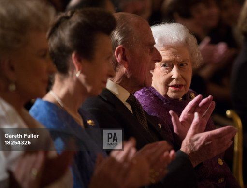 Princess Michael of Kent (left), Princess Royal (second left), the Duke of Edinburgh and Queen Elizabeth II (right) listen to poetry readings during a Reception for Contemporary British Poetry at Buckingham Palace, London.