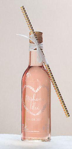 Mignonnette de rosé personnalisée mariage - modèle couronne #cadeaux #invités #vin #honneur