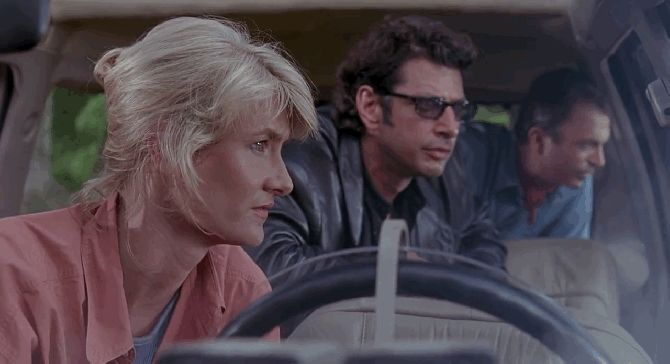 Ellie Sattler (Laura Dern), Ian Malcolm (Jeff Goldblum), and Alan Grant (Sam Neill) in 'Jurassic Park.'