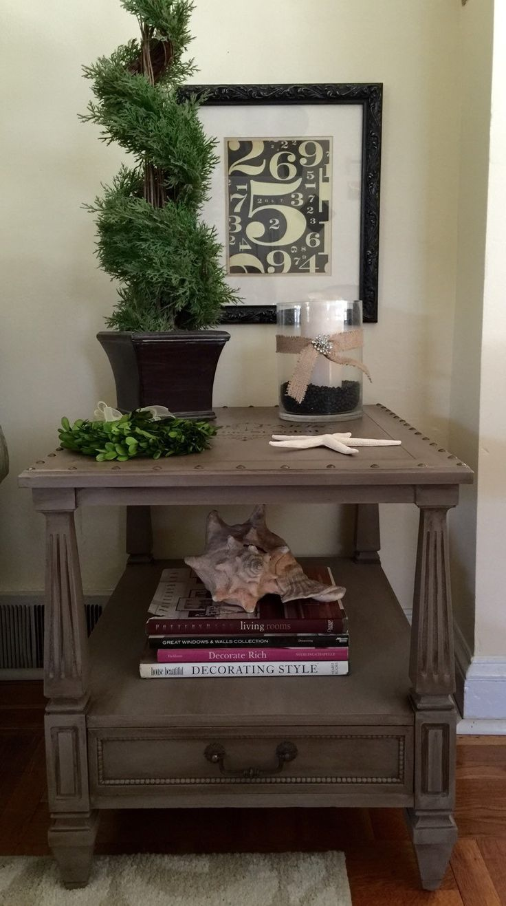 vintage side table end table hand painted annie sloan coco by colorfulhomedesigns on etsy
