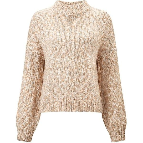 Miss Selfridge Camel Mixed Yarn Cropped Knitted Jumper ($49) ❤ liked on Polyvore featuring tops, sweaters, camel, pink jumper, jumper top, jumpers sweaters, pink cropped sweater and pink sweater