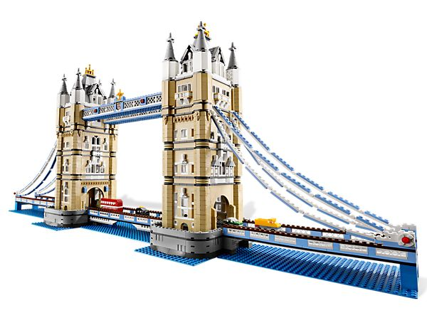 Tower Bridge  | Designed with advanced building techniques and rare colors and elements, the Tower Bridge is complete with its iconic paired towers and a drawbridge that really opens. Fun to build and display, it locks together solidly but can be taken apart in sections for easy transport. Includes 4 miniature vehicles; a black London taxi, a traditional red double-decker bus, a yellow truck and a green automobile.