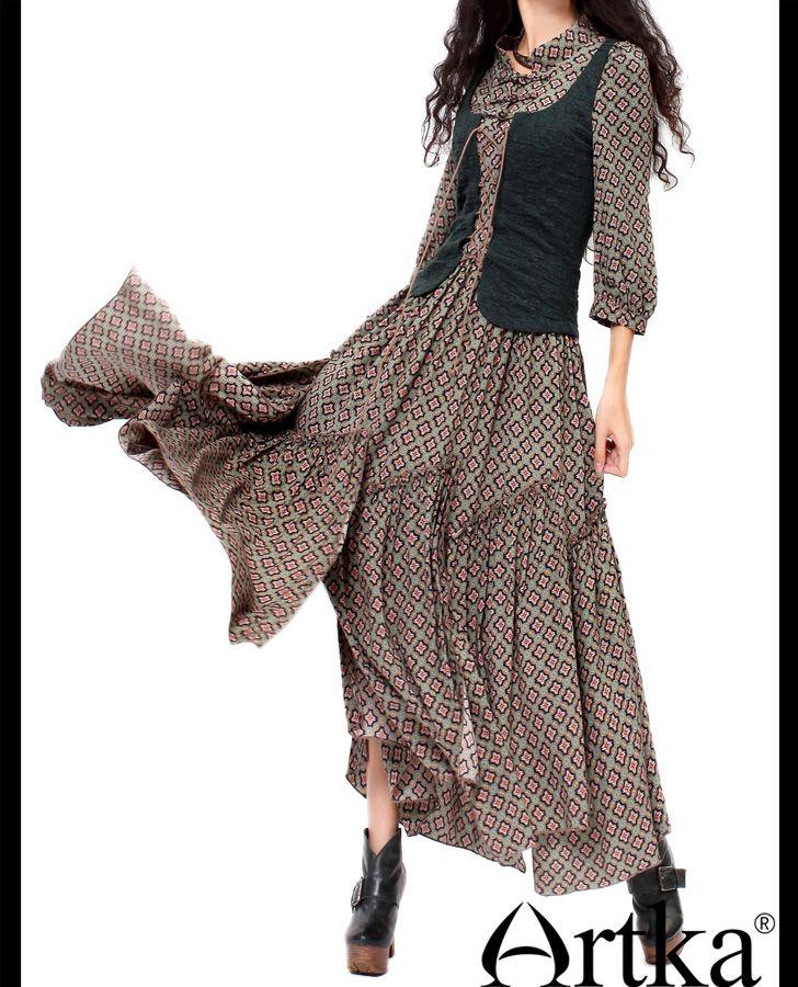 Aliexpress.com : Buy Artka Women's Retro Ethnic Dresses Denim & Cotton Patchwork Design Romantic Bohemian Style Charming Lady Long Dress LX15155X on Artka.   Alibaba Group