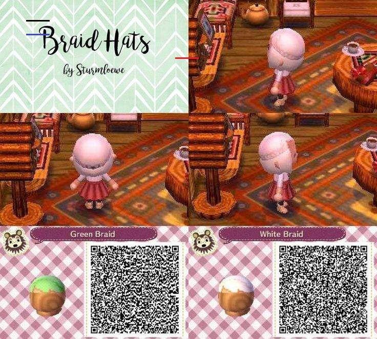 Animal Crossing New Leaf Qr Code Cute Braided Hair Braid Hat Fashion Green White New In 2020 Animal Crossing Animal Crossing Qr Codes Clothes Animal Crossing Hair