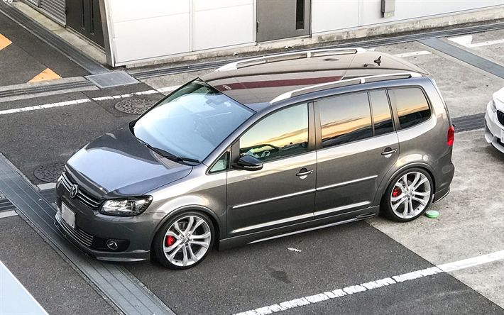 Download wallpapers Volkswagen Touran GTI, 4k, tuning, VW Touran, german cars, Volkswagen