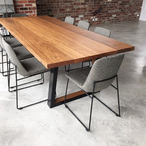 Instagram media by whelanthewarehouse - Reclaimed Blackbutt timber transformed into this table and check out those awesome steel legs with the reclaimed Blackbutt timber insert! #diningtable #madeinmelbourne #home #homedesign #homeproject #repurposedwood #reclaimedwood #reclaimedtimber #recycledtimber #design #create #make