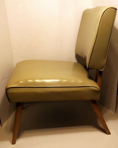 Antique 1950's Vintage Atomic Viking Artline Lounge Chair Mid Century Modern EXC | eBay (Color good, leather okay, open sides-check, but seat/back needs to be a tad wider.)