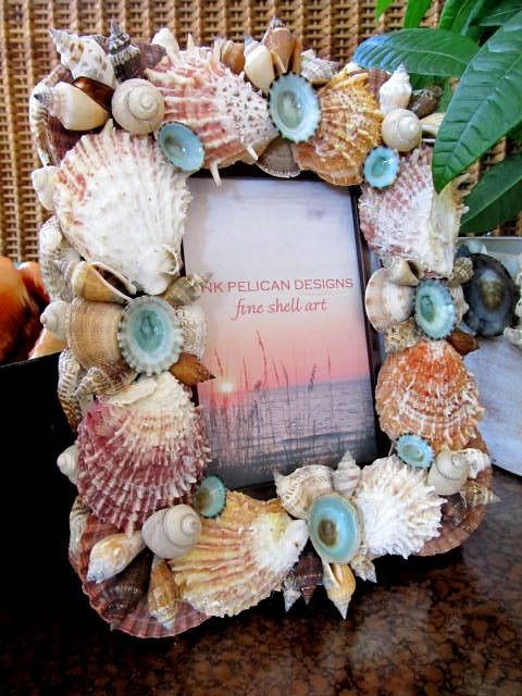 Beach Decor Sea Shell Frame with Spiney by PinkPelicanDesigns, $64.00
