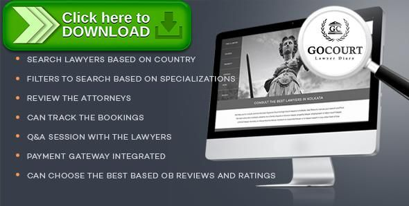 [ThemeForest]Free nulled download Online Lawyer Booking Solutions - GOCOURT from http://zippyfile.download/f.php?id=44591 Tags: ecommerce, ask a lawyer, attorney directory, attorney search, book a lawyer, court lawyer, find a attorney, find a lawyer, find a lawyer by name, find a lawyers near me, get a lawyer, hire a lawyer, lawyer booking solutions, lawyer directory php script, lawyer online, my lawyer