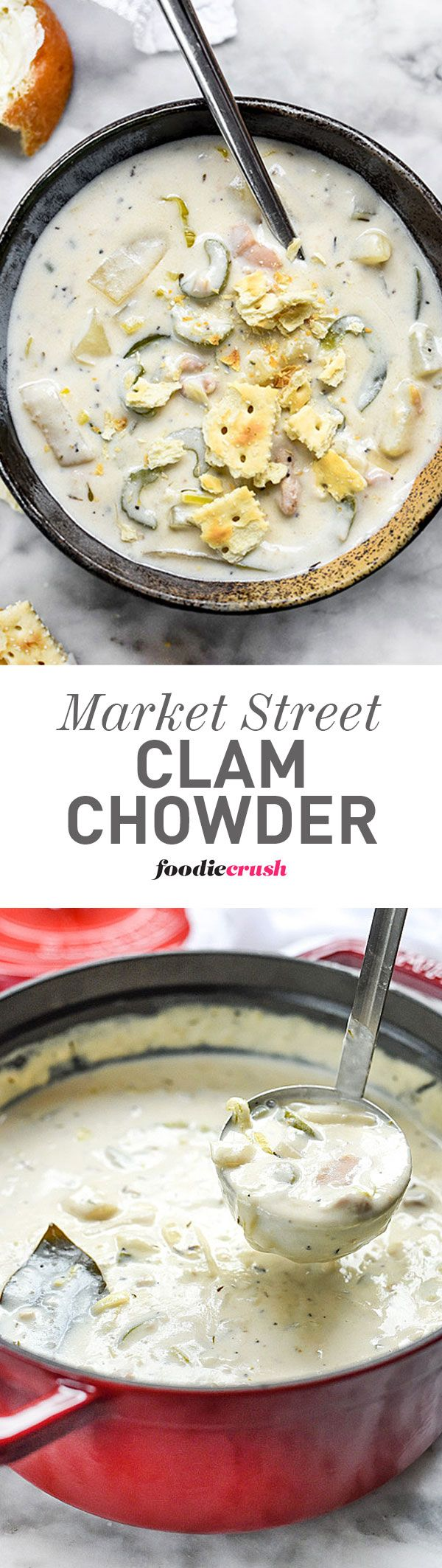 This clam chowder recipe is an institution at Salt Lake City's Market Street Grill where I met my husband. I always get it when I go there but now I make it even more often at home. It's so good. | foodiecrush.com