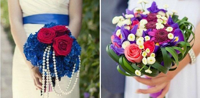Красный с синим: свадебные цветочные композиции