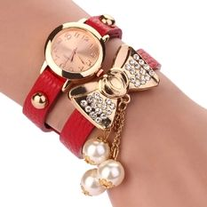 New Fashion Watch PU Leather Women Pearl Butterfly Wristwatch Red