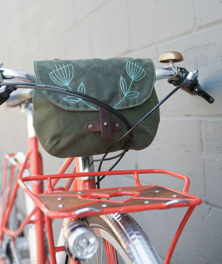 Waxed Canvas Handlebar Bag - 'Anise' - Queen Bee by Rebecca Pearcy