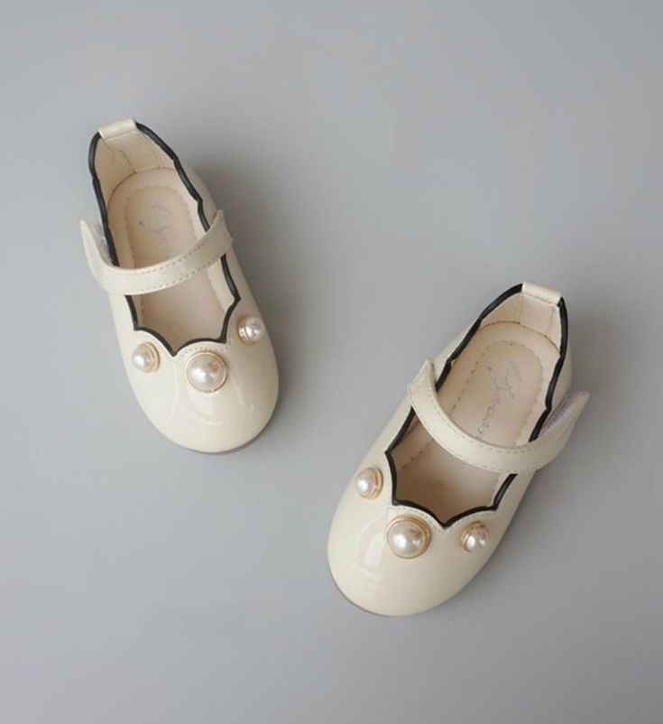 Pearl Shoes-High Quality, Comfort & Soft! Cute Baby Infant Toddler Little & Big Girl Mary Jane Strap Flat Round Pearl Shoes. Material: Pu Leather & Rubber. Color: Ivory. Please choose  your little girl size by Insole length.