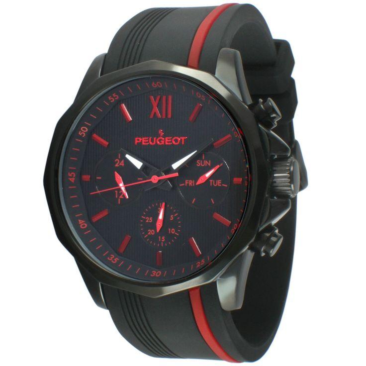 Peugeot Multi-Function Rubber Sport Men's Watch - Black/ Red