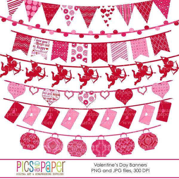 Sweet Love Bunting Banners Clipart Great For