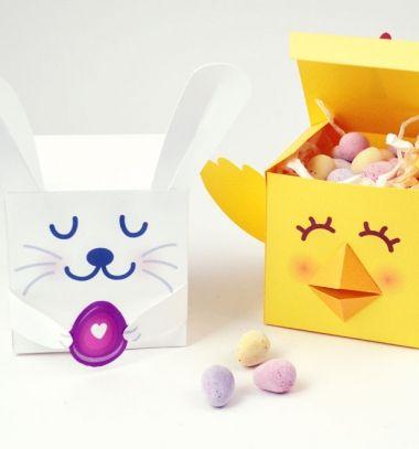 Bunny and chick - easter treat boxes ( printable ) // Nyuszi és pipi - húsvéti díszdobozok ( nyomtatható mintaívvel ) // Mindy - craft tutorial collection