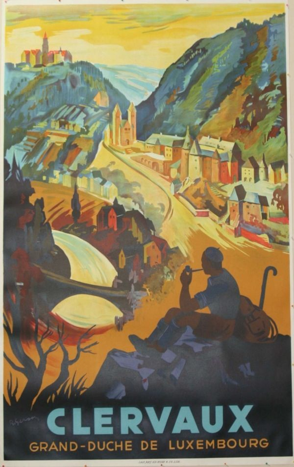 Vintage Travel Poster - Clervaux - Luxembourg.