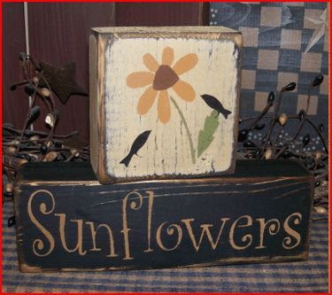 Sunflowers Primitive block Sign by Heresyoursignprim on Etsy, $14.99