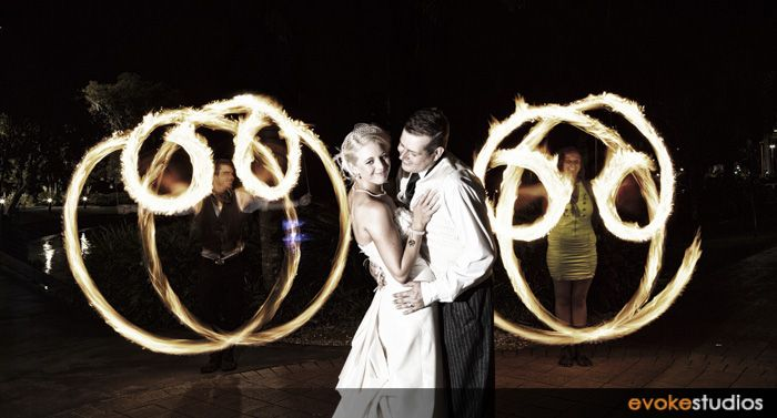 Fire twirlers show at your wedding