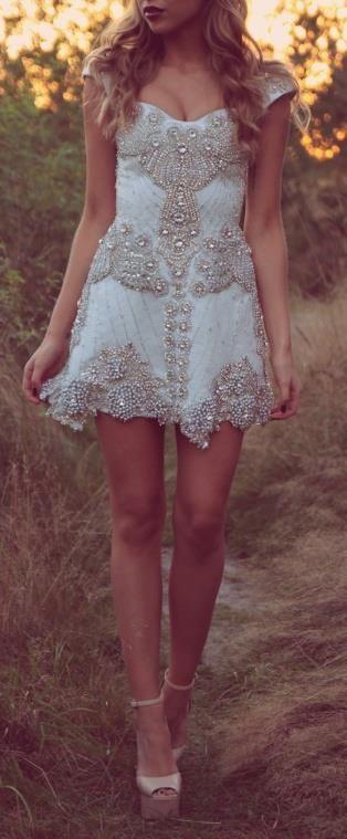 #reception #dress #bride #bridal #wedding #white #embelished #stunning #beautiful #glam #gorgeous #amazing #dreamy #yestothedress #mini #cocktail