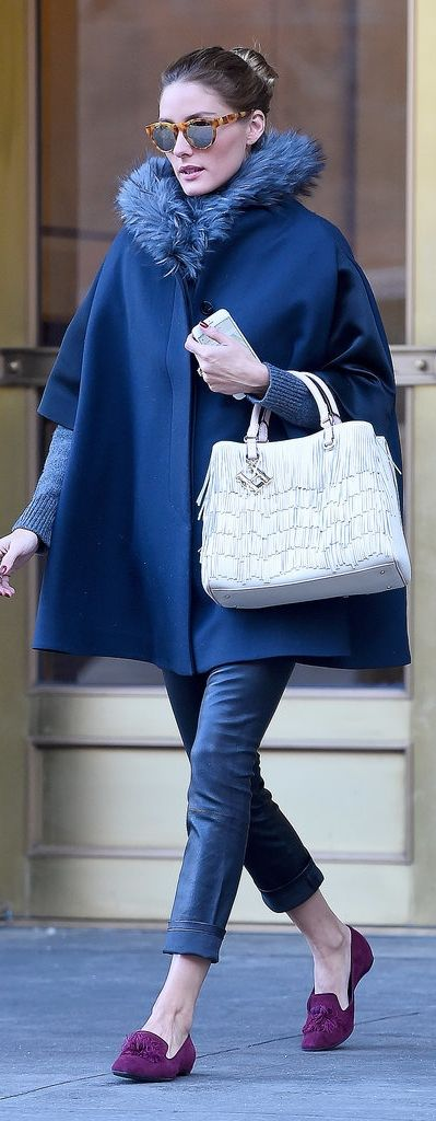 Olivia Palermo Wearing a Winter Cape, and lookong fabulous while doing so. She has the best taste in clothes. I love fur now because of her!
