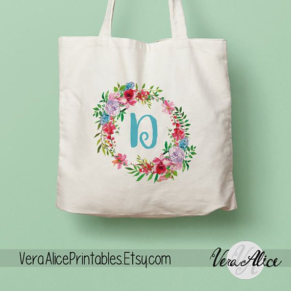 Personalized Natural Canvas Tote Floral Tote Custom Tote Bag Monogram Tote Bridesmaid Gift Tote Bag Gift Floral Bag Flower Beige Tote by VeraAlicePrintables