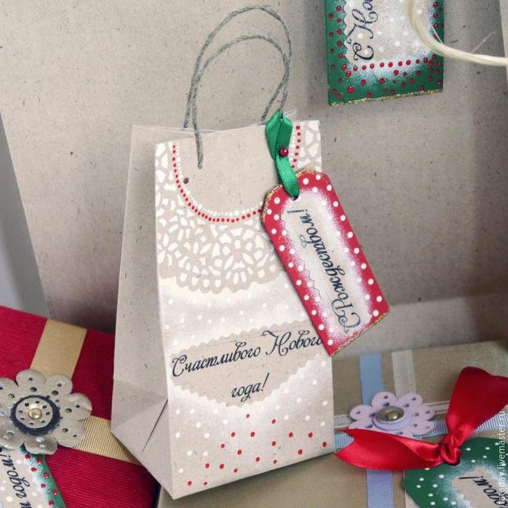 Делаем новогодний крафт-пакет с биркой-поздравлением - Ярмарка Мастеров - ручная работа, handmade