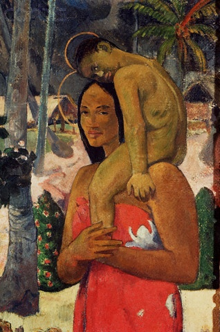 Gauguin...this was one of his most controversial paintings where the woman and child are portrayed as saints..was a huge blasphemy in those days