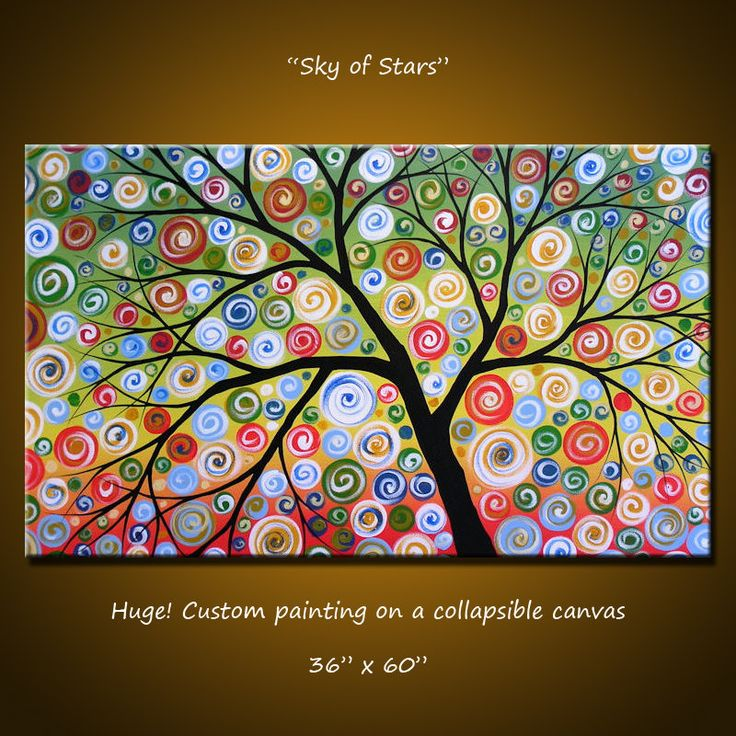 Amy Giacomelli Painting Oversized Large Abstract Landscape Tree .. red yellow blue green black ... 36 x 60 .. Sky of Stars ... FREE US SHIP. $850.00, via Etsy.