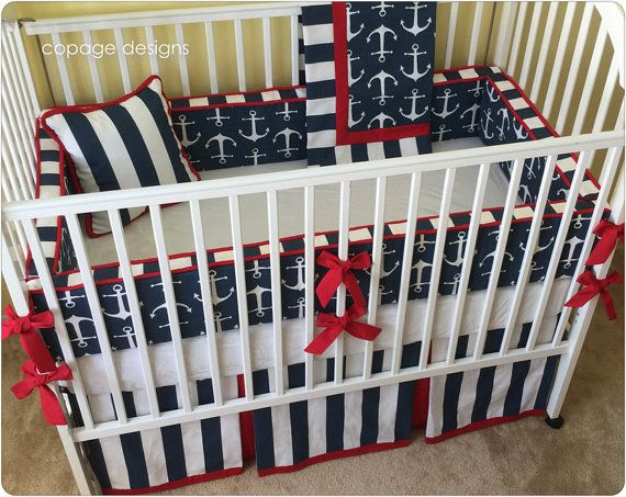 I love this set!!! Especially the bumpers! So cute!!  (Bumpers are $165)   Anchors Nautical Theme Sailor Baby Boy Crib Bedding Set / Includes: Bumper Pad, Crib Skirt, Blanket, and Accent Pillow / Made-to-Order
