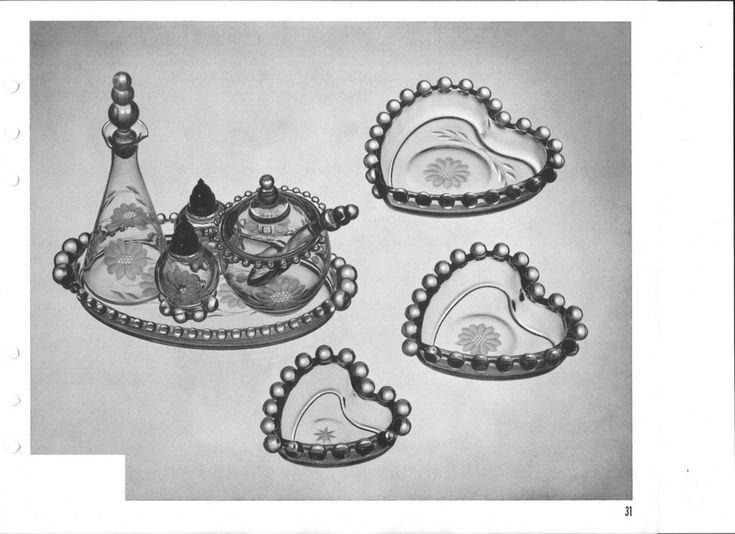"Candlewick by Imperial Glass 7pc seasoning set -6oz. bottle and stopper -salt and pepper set - 3 pc. relish set - 9"" oval tray  6"" heart bonbon 5"" heart bonbon 4"" heart bonbon"