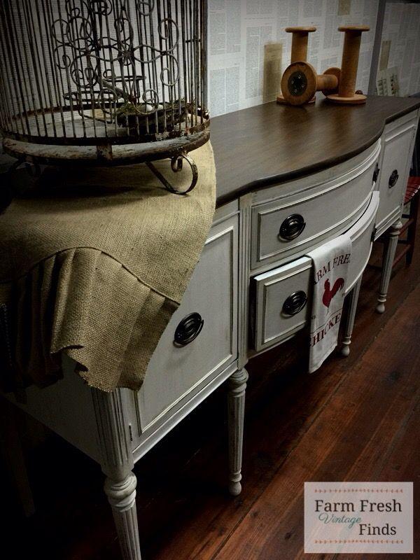 Buffet Makeover in DIY Vintage Linen - Farm Fresh Vintage Finds