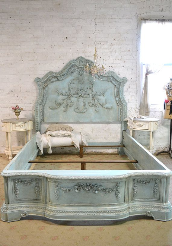 Beautiful romantic complete bed, available in queen or king with decorative side rails. Tons of shabby chic charm. This is a brand new piece