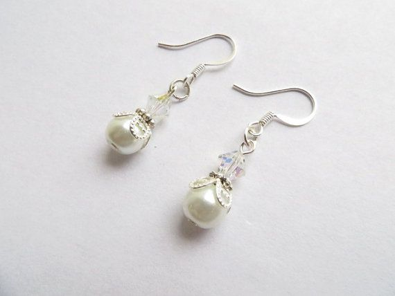 White Pearl Silver Swarovski Bride Wedding by RitzyandGlitzy, $21.00
