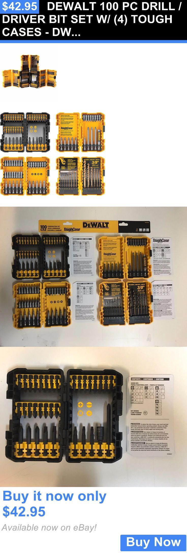 tools: Dewalt 100 Pc Drill / Driver Bit Set W/ (4) Tough Cases - Dwa24case2 BUY IT NOW ONLY: $42.95