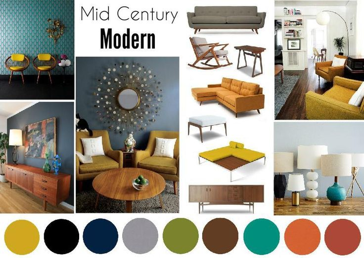 Mid Century Modern Interior Mood Board Created On