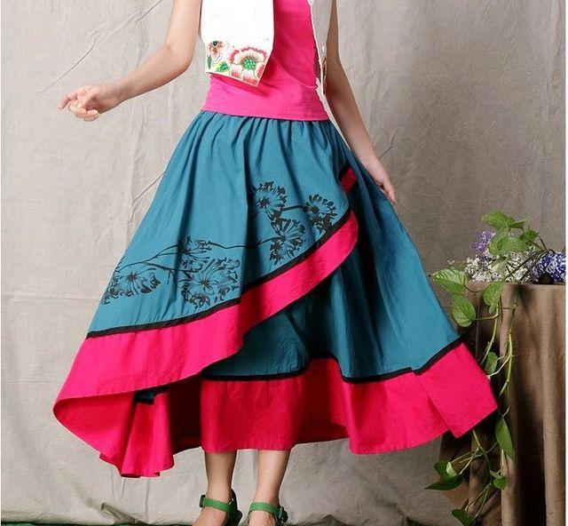 Женская мода китайский стиль цветочные асимметричный цветочные юбки длинные Skrits серебристый FF09