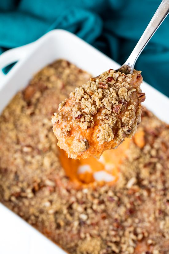 This recipe for The Best Sweet Potato Casserole has a velvety sweet potato base and is topped off with a pecan streusel topping. It'll put candied yams to shame! This dish is my one must-have dish on my Thanksgiving table. I'm pretty sure my husband would revolt if I didn't serve sweet potatoes. I mentioned...