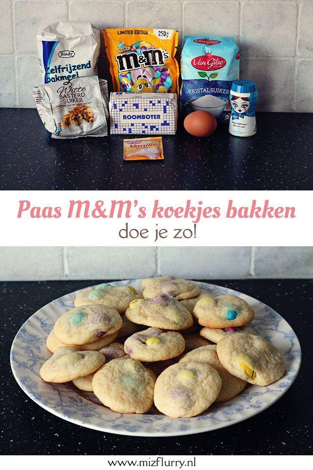 Chocolate chip cookies recept, met M&M's! Heerlijke koekjes en met makkelijk te verkrijgen ingrediënten. Lekker bakken voor Pasen.
