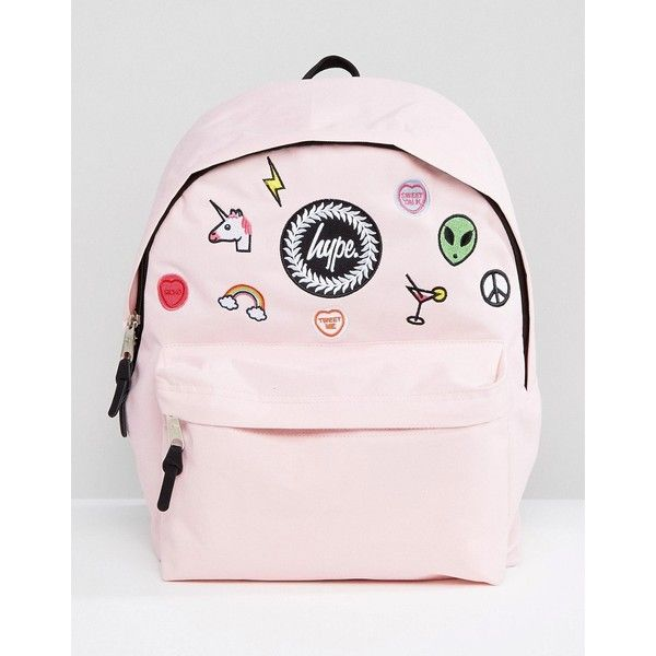 Hype Pink Patches Backpack (320 DKK) ❤ liked on Polyvore featuring bags, backpacks, pink, pink rucksack, galaxy backpack, hype bags, backpack bags and pink galaxy backpack