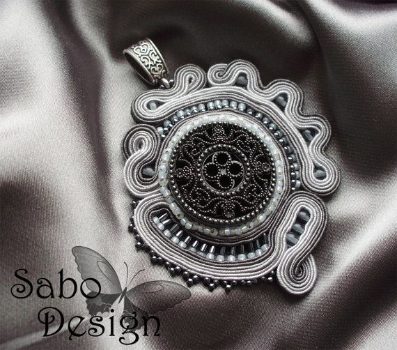 SHADES OF GRAY  soutache pendant handmade by SaboDesign on Etsy, $69.00